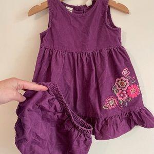 Oshkosh B'gosh cord dress and bloomer set size 2 girls floral purple